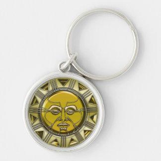 Sun metálico maya grabado en relieve llavero redondo plateado