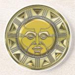 Sun metálico maya grabado en relieve posavasos personalizados