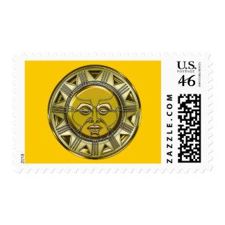 Sun metálico maya grabado en relieve