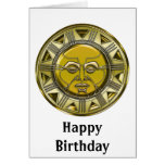 Sun metálico maya grabado en relieve tarjeta