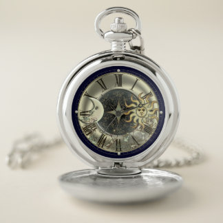 Sun Moon And Stars Celestial Pocket Watch