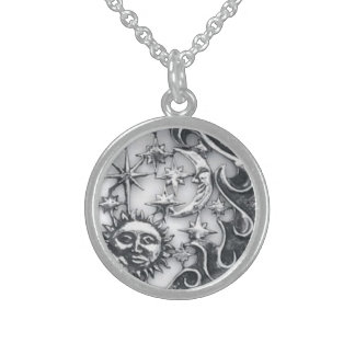 SUN MOON AND STARS ROUND PENDANT NECKLACE