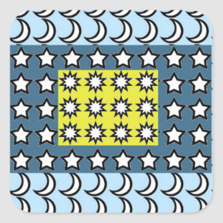 Sun, Moon and Stars Square Sticker