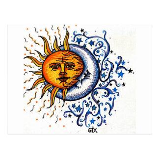 SUN MOON ART DESIGN POSTCARD