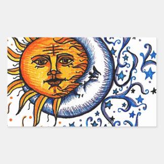 SUN MOON ART DESIGN RECTANGULAR STICKER