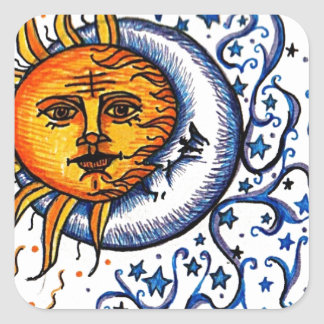 SUN MOON ART DESIGN SQUARE STICKER