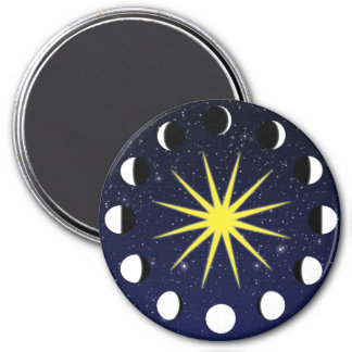 Sun, Moon Phases & Stars 3 Inch Round Magnet