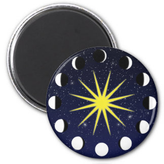 Sun, Moon Phases & Stars 2 Inch Round Magnet