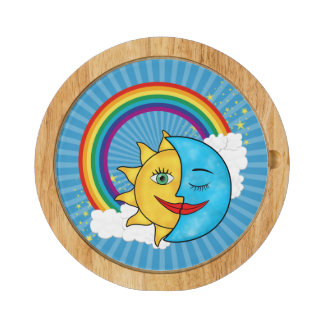 Sun Moon Rainboow Celestial theme Cheese Board
