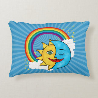 Sun Moon Rainboow Celestial theme Decorative Pillow