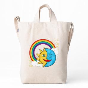 Sun Moon Rainboow Celestial theme Duck Bag