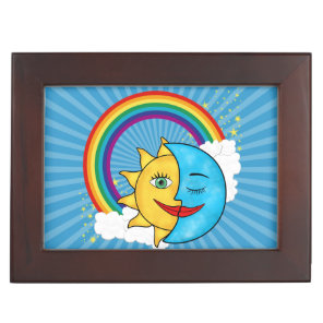Sun Moon Rainboow Celestial theme Keepsake Box