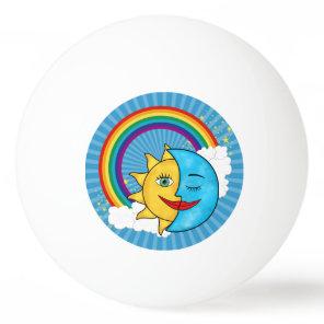 Sun Moon Rainboow Celestial theme Ping Pong Ball