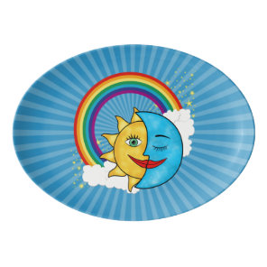 Sun Moon Rainboow Celestial theme Porcelain Serving Platter