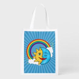 Sun Moon Rainboow Celestial theme Reusable Grocery Bag