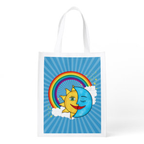 Sun Moon Rainboow Celestial theme Reusable Grocery Bag