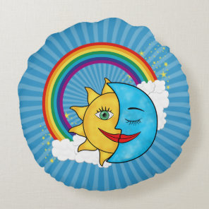 Sun Moon Rainboow Celestial theme Round Pillow