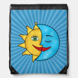 Sun Moon Rainboow Celestial theme Solar Rays Drawstring Backpack