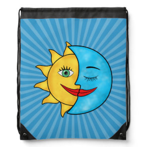 Sun Moon Rainboow Celestial theme Solar Rays Drawstring Backpack