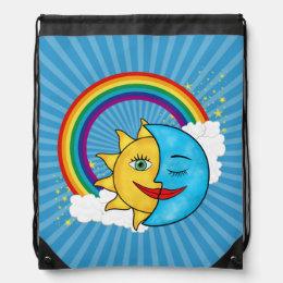 Sun Moon Rainboow Celestial theme Solar Rays Drawstring Bag