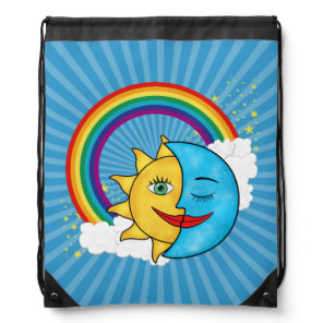 Sun Moon Rainboow Celestial theme Solar Rays Drawstring Bag