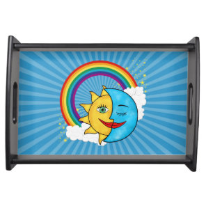Sun Moon Rainboow Celestial theme Solar Rays Serving Tray