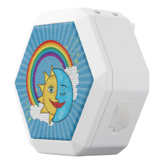 Sun Moon Rainboow Celestial theme White Bluetooth Speaker