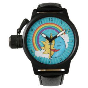 Sun Moon Rainboow Celestial theme Wristwatch