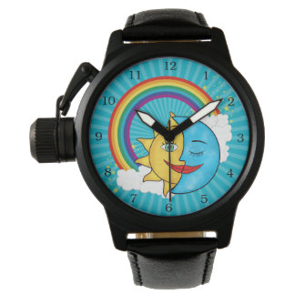 Sun Moon Rainboow Celestial theme Wristwatch
