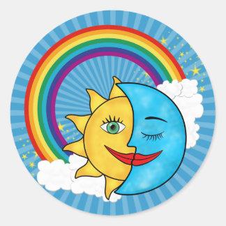 Sun Moon Rainbow Stars Classic Round Sticker