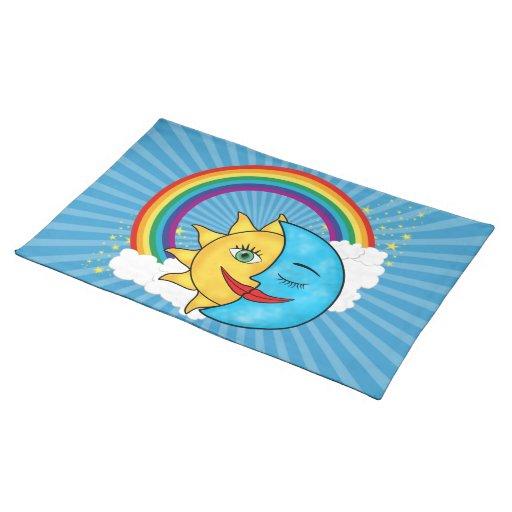 Sun Moon Rainbow Stars Cloth Place Mat