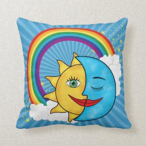 Sun Moon Rainbow Stars Throw Pillow