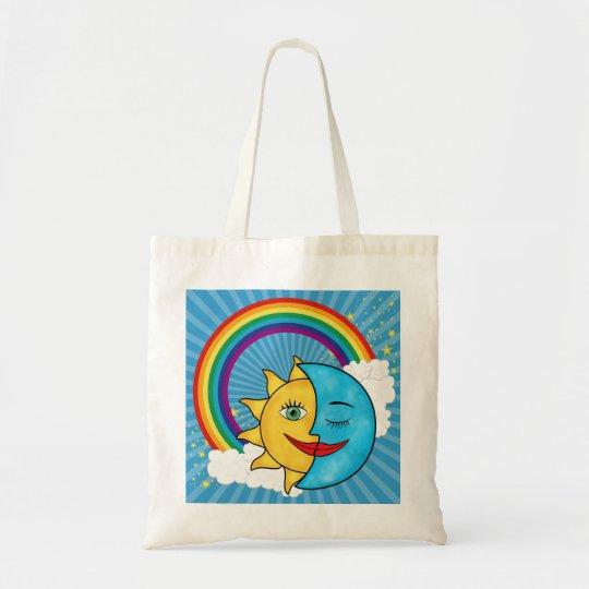 Sun Moon Rainbow Stars Tote Bag