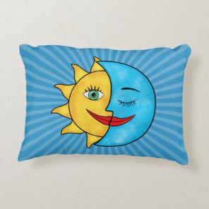 Sun Moon solar rays Celestial theme Accent Pillow