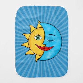 Sun Moon solar rays Celestial theme Baby Burp Cloth