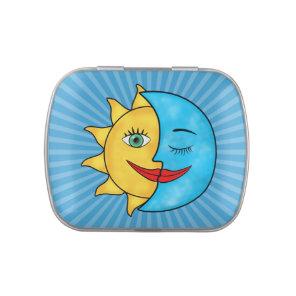 Sun Moon solar rays Celestial theme Candy Tins
