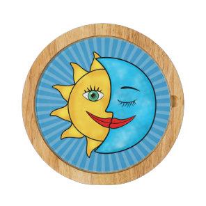 Sun Moon solar rays Celestial theme Cheese Board