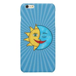 Sun Moon solar rays Celestial theme Glossy iPhone 6 Plus Case