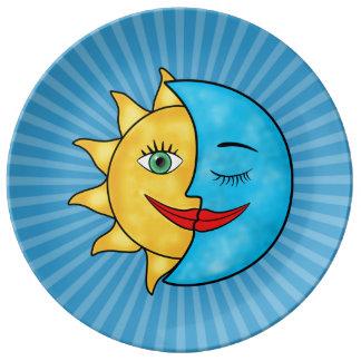 Sun Moon solar rays Celestial theme Porcelain Plate