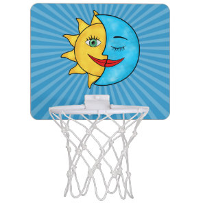 Sun Moon solar rays Celestial theme Mini Basketball Hoop