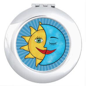 Sun Moon solar rays Celestial theme Mirror For Makeup