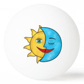 Sun Moon solar rays Celestial theme Ping Pong Ball