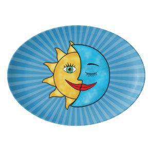 Sun Moon solar rays Celestial theme Porcelain Serving Platter