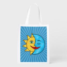 Sun Moon solar rays Celestial theme Reusable Grocery Bag