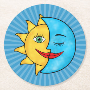 Sun Moon solar rays Celestial theme Round Paper Coaster
