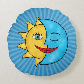 Sun Moon solar rays Celestial theme Round Pillow