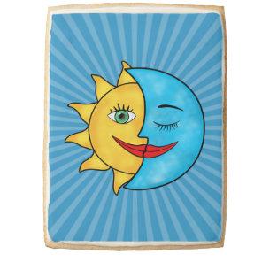 Sun Moon solar rays Celestial theme Shortbread Cookie