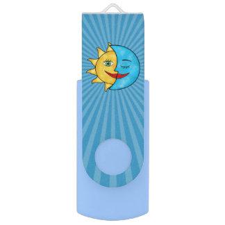 Sun Moon solar rays Celestial theme Swivel USB 2.0 Flash Drive