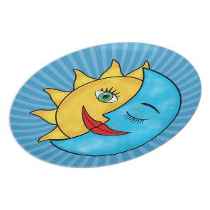Sun Moon solar rays Dinner Plate