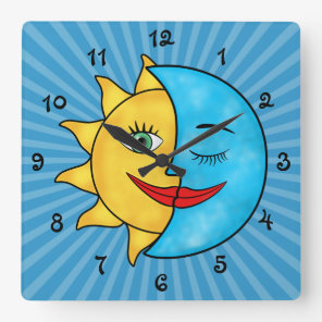 Sun Moon Square Wall Clock